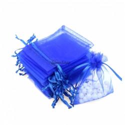 Blue organza bag 15x10 cm